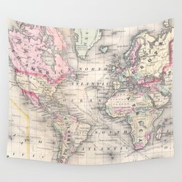 Vintage Map of The World (1864) Wall Tapestry