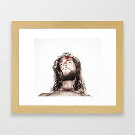 silhouette of compassionate face of Jesus with crown of thorns  Framed Art Print