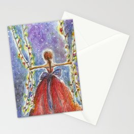 Christmas Lights Watercolor Stationery Cards