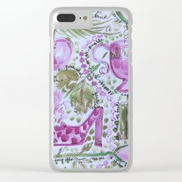 Southern Lady Toile Pink and Green Pearls Clear iPhone Case