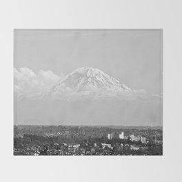 Hovering Mt Rainier in Mono Throw Blanket