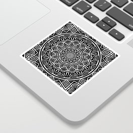 Black and White Simple Simplistic Mandala Design Ethnic Tribal Pattern Sticker