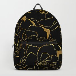 Gold Art deco pattern. Lined black gardenia. Flowers floral ornate.  Backpack