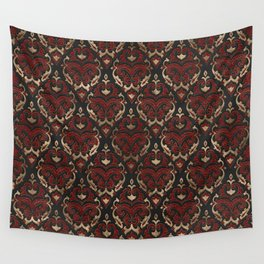Persian Oriental Pattern - Black and Red Leather Wall Tapestry