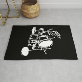 Drum Kit Rock Black White Rug