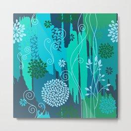 Boho Floral Pattern Var. 8 Metal Print