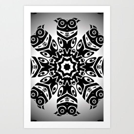 owl eyes open Art Print