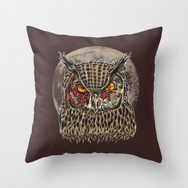 Zombie Owl Throw Pillow