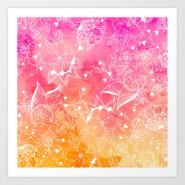 Modern summer pink orange sunset watercolor floral hand drawn illustration Art Print