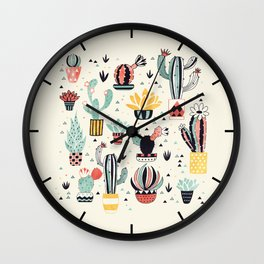 Cacti in a Flower Pot Wall Clock