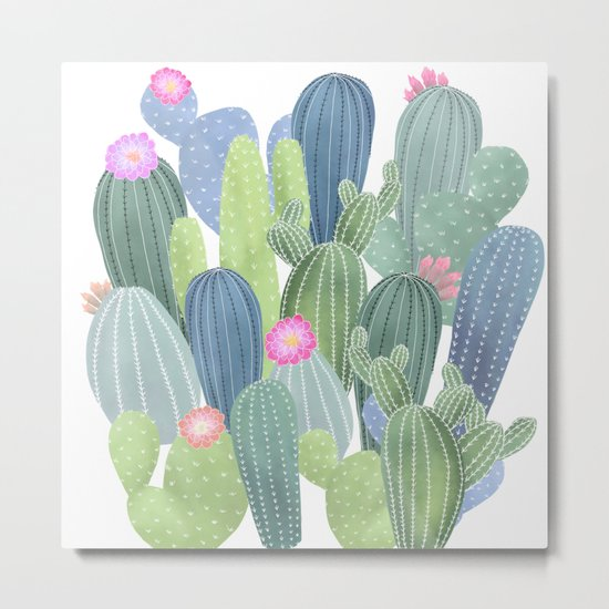 Cacti Love / Watercolor Cactus Pattern Metal Print
