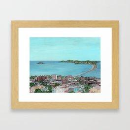 Ocean Lynn Massachusetts Nahant Egg Rock City Framed Art Print
