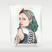 girl Shower Curtains featuring GIRL by Laura O'Connor