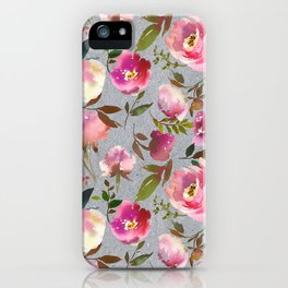 Gray blush pink coral yellow hand painted floral iPhone Case