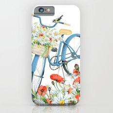Blue bike & red poppy iPhone 6 Slim Case