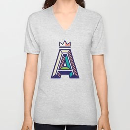 Crowned A Initial Unisex V-Neck