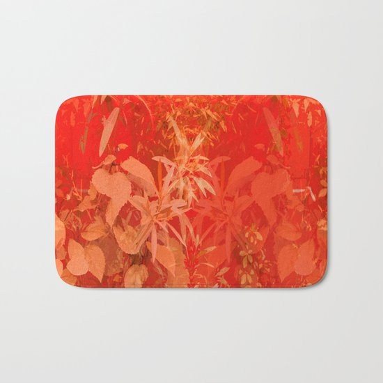 Beautiful red foliages - illustration of garden Bath Mat
