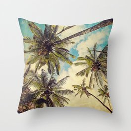 Vintage Blue Hawaii Palm Trees Throw Pillow