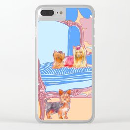 Dogs in Chairs : Yorkies Clear iPhone Case