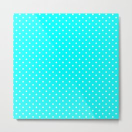 Dots (White/Aqua Cyan) Metal Print