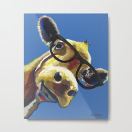 Cute Cow With Glasses, Up close Glasses Cow Metal Print