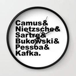 Camus& Nietzsche& Sartre& Bukowski& Pessoa& Kafka. Wall Clock
