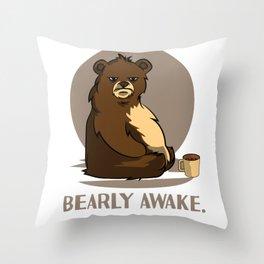 bear coffee caffeine late riser tired joke design Throw Pillow