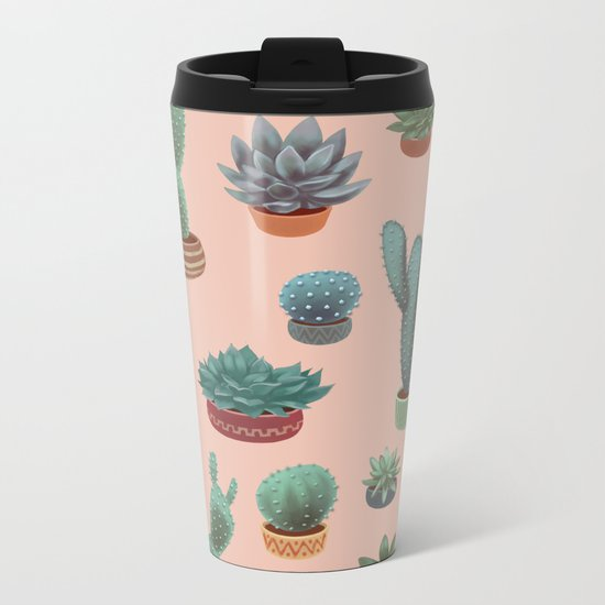 Potted Cacti and Succulents on Sahara Rose background. Metal Travel Mug