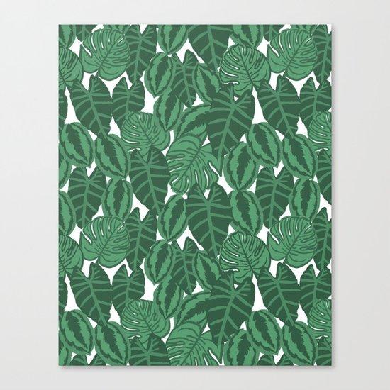 Botanical tropical pattern leaves painting watercolor free spirit boho modern pattern garden house Canvas Print
