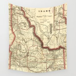 Vintage Map of Idaho (1896) Wall Tapestry