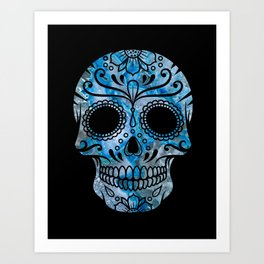 Blue Lace Sugar Skull Art Print