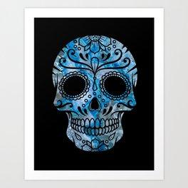 Blue Lace Sugar Skull Art Print