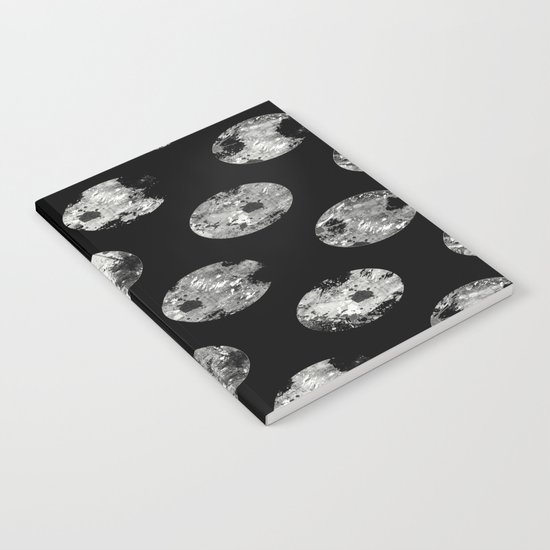 Lunar Pattern - Abstract Black And White Moon Pattern Notebook