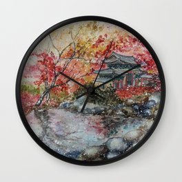 Fall (Watercolor painting) Wall Clock