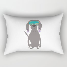 Weim in Holly's Aqua Sleeping Mask Grey Ghost Weimaraner Dog Hand-painted Pet Drawing Rectangular Pillow