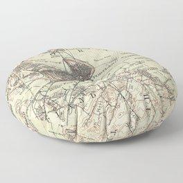 Vintage Map of Portland Maine (1914) Floor Pillow