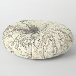 Vintage Map of Portland Maine (1914) Floor Pillow