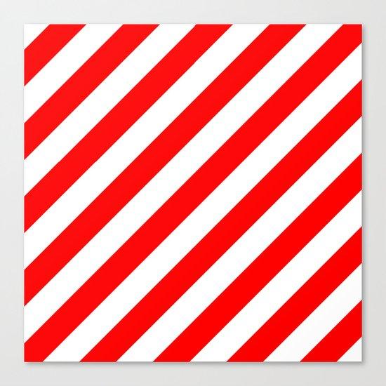 Diagonal Stripes (Red/White) Canvas Print