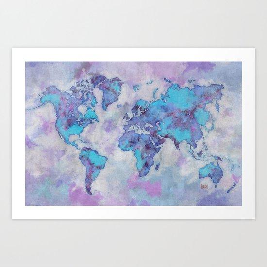 World Map Purple Art Print