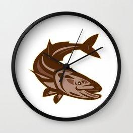 Cobia Fish Diving Down Retro Wall Clock