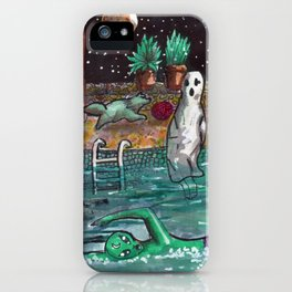 alien and ghost in the pool iPhone Case