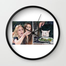 Woman Yelling at Cat Meme-3 Wall Clock