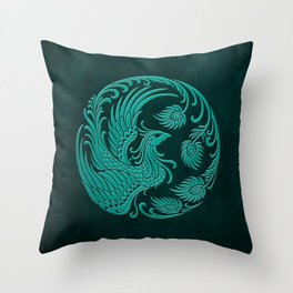 Traditional Teal Blue Chinese Phoenix Circle Throw Pillow