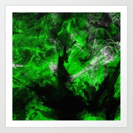 Emerald Blast - Abstract Black And Green Painting Art Print