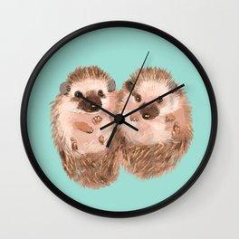 Twin Hedgehogs Wall Clock