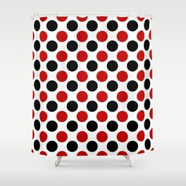RED BLACK CIRCLE Shower Curtain