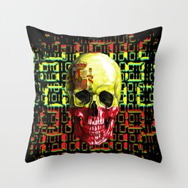 digital Skull (flag of spain) Throw Pillow