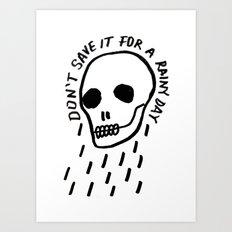 ink black and white skull illustration typography Art Print