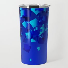 Sea explosive pattern of rhombuses and squares at the depth of the blue ocean. Travel Mug