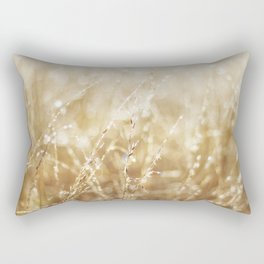Golden Wild Oats wet with rain Rectangular Pillow